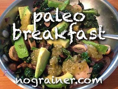 Paleo Breakfast Recipe, No Eggs: Sauteed Kale with Sausage